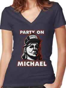 Party on, Michael! Women's Fitted V-Neck T-Shirt