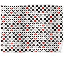 Red and Black Lips Pattern Poster