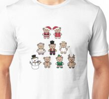 Little Bears in Christmas icons-full color Unisex T-Shirt