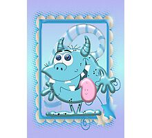 Cute Blue Monster Photographic Print