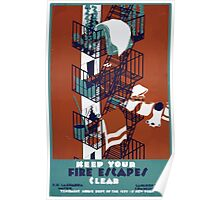 WPA United States Government Work Project Administration Poster 0213 Keep Your Fire Escape Clear Poster