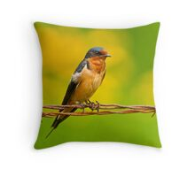 Barn Swallow On Barbwire Throw Pillow