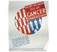 WPA United States Government Work Project Administration Poster 0282 More Women Die of Cancer Than Do Men Poster