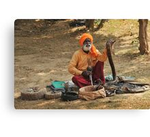 Snake charmer, Fatepursikri, India Canvas Print