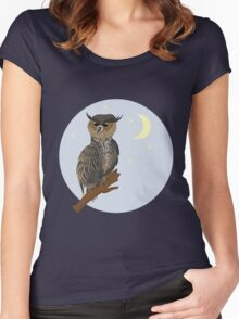Horned Owl on a Branch 2 Women's Fitted Scoop T-Shirt