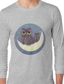 Owls on the Crescent Moon Long Sleeve T-Shirt