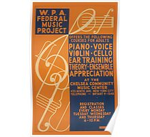 WPA United States Government Work Project Administration Poster 0658 Federal Music Project Offers Piano Voice Violin Cello Poster