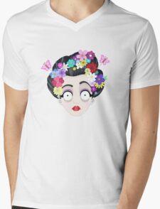 Flower Geisha Mens V-Neck T-Shirt