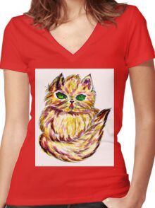 Persian Cat 2 Women's Fitted V-Neck T-Shirt