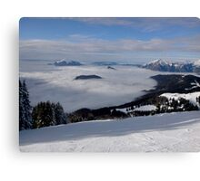 landscape with snow and clouds Canvas Print