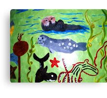 Sea Otters and Whales Canvas Print