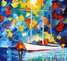 WHITE SAIL - Original Art Oil Painting On Canvas By Leonid Afremov by Leonid  Afremov