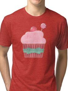 Cupcake and Candy Sweetness Pattern Tri-blend T-Shirt