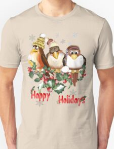 Happy Holidays Chirstmas Birds T-Shirt
