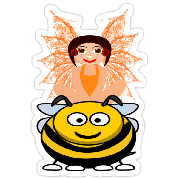 Golden Fairy and her Pet Bee scarf, etc. design by Dennis Melling