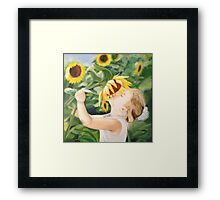 Girl with Sunflowers Framed Print