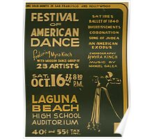 WPA United States Government Work Project Administration Poster 0835 Festival of American Dance Myra Kinch Laguna Beach High School Auditorium Poster