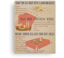 WPA United States Government Work Project Administration Poster 0896 Breakfast Lunch Supper Canvas Print