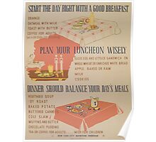 WPA United States Government Work Project Administration Poster 0896 Breakfast Lunch Supper Poster