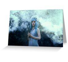 Mystic girl blue hair smoke fantasy elves Greeting Card