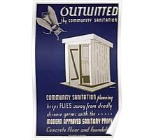 WPA United States Government Work Project Administration Poster 0400 Outwitted by Community Sanitation Poster