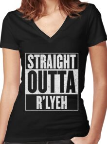 Straight Outta Rlyeh Women's Fitted V-Neck T-Shirt
