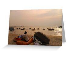 Man sitting on beach Greeting Card