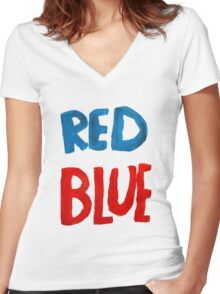 Red Blue Women's Fitted V-Neck T-Shirt