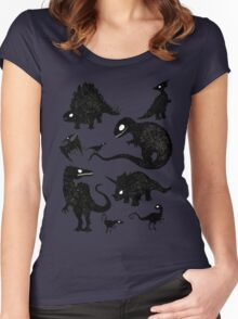 Silhouetted Dinosaurs Women's Fitted Scoop T-Shirt