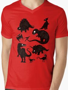 Silhouetted Dinosaurs Mens V-Neck T-Shirt
