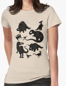 Silhouetted Dinosaurs Womens Fitted T-Shirt