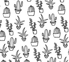 Succulents - Black & White by eliannadraws
