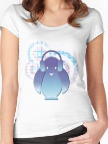 PENGUIN WITH HEADPHONE II Women's Fitted Scoop T-Shirt