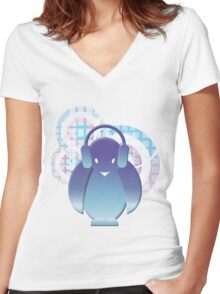 PENGUIN WITH HEADPHONE II Women's Fitted V-Neck T-Shirt