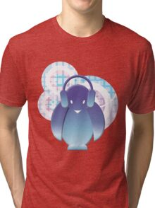 PENGUIN WITH HEADPHONE II Tri-blend T-Shirt