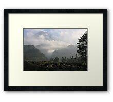 Morning Mist at Merapi Framed Print