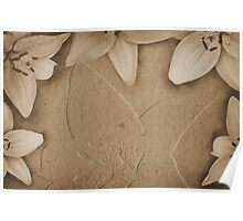 Vintage paper with flowers texture Poster