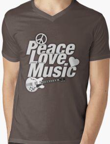 White Peace Love Music Mens V-Neck T-Shirt