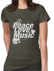 White Peace Love Music Womens Fitted T-Shirt