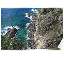 Cliff at Bennett's Head, Forster, NSW Poster