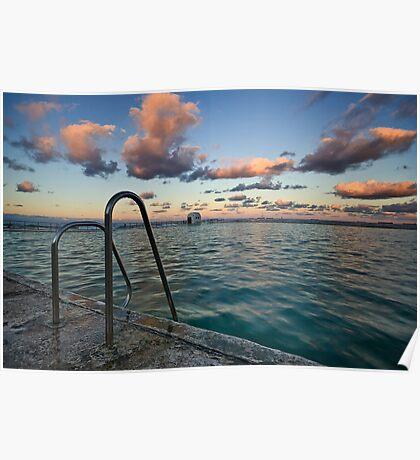 Evening at Merewether Ocean Baths Poster