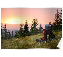 Meadow at the sunset Poster