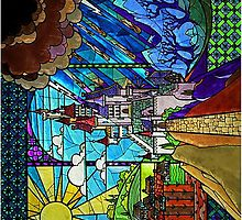 Beauty and the Beast-- stained glass castle (sideways) by lovecooks