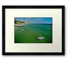 Seaside fun, Bournemouth, UK 1980s Framed Print