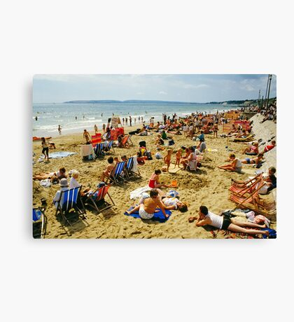 A busy Bournemouth beach (2), England, 1980s Canvas Print
