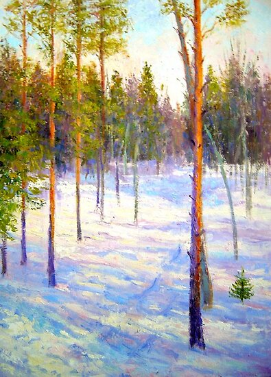 Pine trees on winter morning by Julia Lesnichy