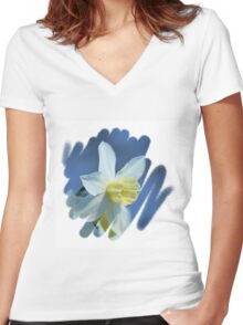 Pretty Daffodils Women's Fitted V-Neck T-Shirt