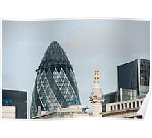 The Monument & Gherkin: Lonon, UK. Poster