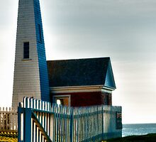 Oil Room, fence and bell tower at Pemaquid Point by Anthony  Romano