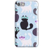 Grey cats with flower crown iPhone Case/Skin